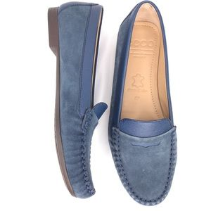 Ecco Blue Suede Leather Penny Loafers Flats Size 7